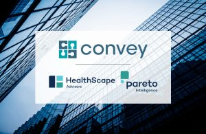 Logos showing Convey Health Solutions acquisition of Pareto Intelligence and HealthScape Advisors
