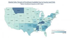 US heat map showing Medicare Advantage market exits in the 2018 competitive landscape