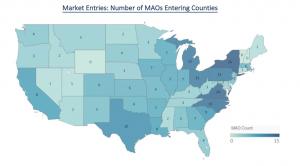 US heat map showing Medicare Advantage market entries in the 2018 competitive landscape