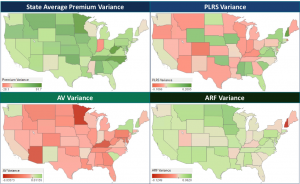 US heat maps showing variance in components of risk capture